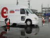Battery electric Freightliner Custom Chassis Corp walk-in van with new aerodynamic body by Morgan Olson and drive by Enova Systems HTUF 2011 ride-and-drive -- vehicle was unveiled at HTUF 2010 in Dearborn, Mich.