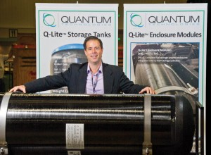 Quantum strategic development chief Dave Mazaika with a Q-Lite brand all-composite CNG tank