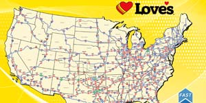 See Love's Class 8-capable 'CNG Fast-Fill' fueling network map in all its glory at Booth 669.