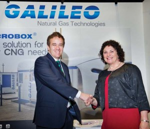 Galileo's Gabriel Lorenzi with Clean Fuel Connection president Enid Joffe at Booth 1337
