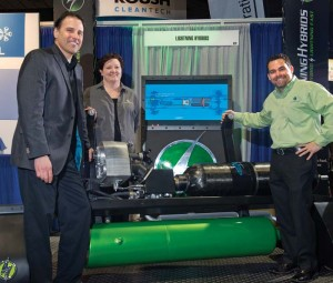 Lightning Hybrids' sales VP Dave Brosky, marketing director Bonnie Trowbridge, and CEO Tim Reeser