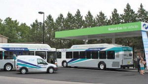 Kansas City ATA operates a mix of 25 CNG-fueled Gillig buses, and expects to acquire 15 to 20 new CNG buses per year until the entire fleet of some 260 transit vehicles is converted from diesel. Note CNG-fueled Ford Transit Connect service vehicle too.