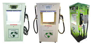 Superior Energy Systems' Pro-Vend Dual Hose propane autogas dispenser flanked by the SES Pro-Vend 1000 (left) and Pro-Vend 2000.