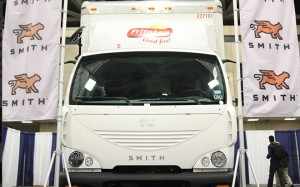 Smith Electric Vehicle 'Newton' truck operating in Frito-Lay's Dallas-area fleet was shown at ACT Expo 2015. It has 36,000 miles on its odometer.