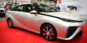 Toyota Mirai hydrogen fuel cell vehicle at ACT Expo 2015 in Dallas.