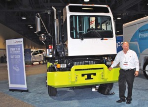 Randy Sohn, western regional sales manager for Tico Trucks with propane-powered yard hostler at Booth 911 (the Propane Education & Research Council).