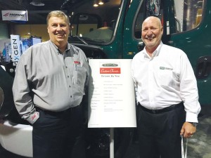 FCCC commercial chassis product manager Mike Stark with Power Solutions International on-highway sales president Bob Pachla